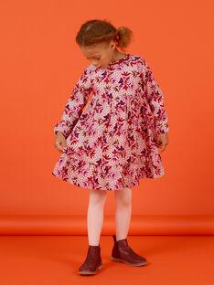 Mädchen-Cordkleid mit Blumendruck MACOMROB1 / 21W901L1ROBD329