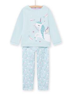 Blau gefüttertes Pyjama-Set mit Einhorn-Muster für Mädchen MEFAPYJFUR / 21WH1193PYJ201
