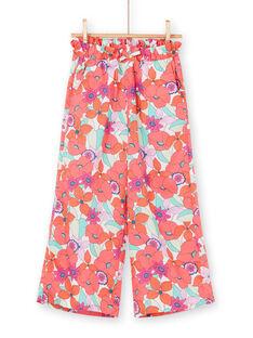 Orange und grün fließende Hose mit Blumendruck LAVIPANT / 21S901U1PAN000