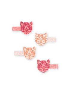 Bikini für Mädchen mit Leopardenmuster und Pailletten, 4er-Set MYAJOCLIC1 / 21WI01S1BRT953