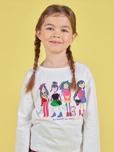 Kind Mädchen ecru Puffärmel T-Shirt mit reversible Pailletten drucken MAMIXTEE4 / 21W901J5TML001