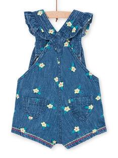 Dunkelblaue Denim-Latzhose mit Blumendruck für Babymädchen LIVERSAL / 21SG09Q1SALP274