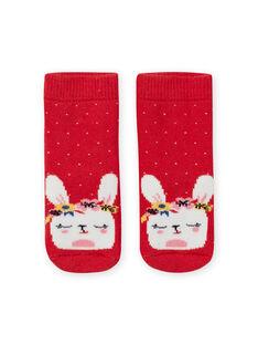 Baby Mädchen rote Socken mit Kaninchen Flecken LYIHACHOB / 21SI09X1SOQ505