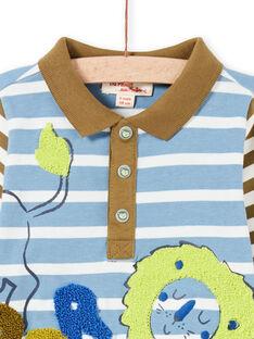 Baby Boy's sky und khaki gestreiftes Poloshirt MUKAPOL / 21WG10I1POL020