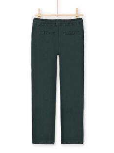 Dunkelgrüne Twill-Hose für Jungen MOTUPAN2 / 21W902K2PANG618