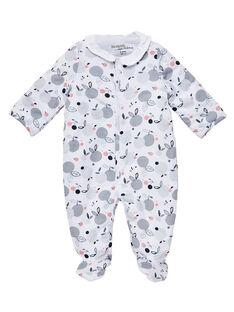Strampler mit Öffnung vorne für neugeborene Mädchen JOU1GRE2 / 20SF03J1GRE000
