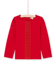 Rotes Langarm-T-Shirt für Mädchen mit Spitzendetail MAJOSTEE5 / 21W90124TML511
