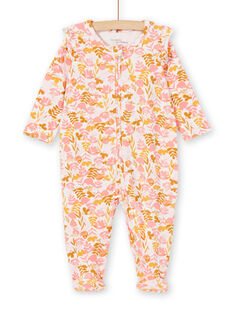 Weiß-rosa Baby-Schlafanzug für Mädchen mit Blumenmuster in Jersey LEFIGREAOP2 / 21SH135CGRE632