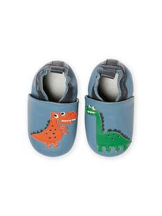 Blaue Lederpantoffeln Dinosauriermuster Baby Junge MUCHOSAUR / 21XK3822D3SC201