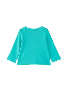 Türkisfarbene Pointelle-Strickjacke für Mädchen JIMARCAR / 20SG09P1CAR310