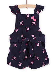 Latzhose für Mädchen aus Cord mit Blumendruck MIPLASAC / 21WG09O1SALC202