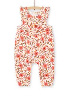 Jumpsuit mit Blumenmuster in Rosa und Ecru für Mädchen LINAUCOMB / 21SG09L1CBL001