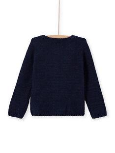 Mitternachtsblaue Chenille-Strickjacke für Mädchen MAYJOCAR1 / 21W90118CARC205