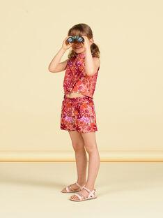 Orange und rosa Shorts mit Blumendruck LATERSHORT2 / 21S901V3SHO001