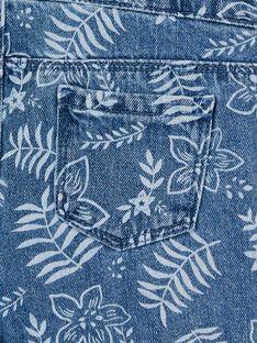 Blaue und weiße Denim-Latzhose mit Blumendruck LANAUSAC / 21S901P1SACP274