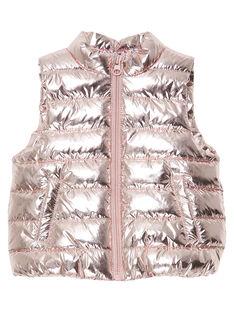 Rosa schillernde ärmellose Baby-Daunenjacke für Mädchen JIROSDOUNE / 20SG09I4D3E030