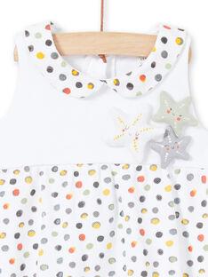 Strampler für Mädchen mit weißem und gelbem Tupfenmuster LOU2BAR / 21SF03I1BAR000