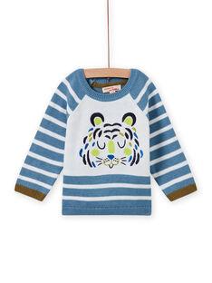 Himmelblauer und weißer Pullover für Baby Junge MUKAPUL / 21WG10I1PUL020