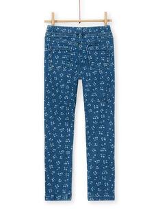 Blaues Jegging mit Kirschaufdruck LAJOJEG1 / 21S90142D2BP274