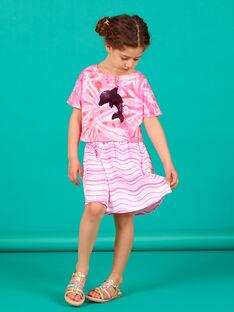Fluoreszierender rosa und weiß gestreifter Rock LABONJUP2 / 21S901W1JUP000