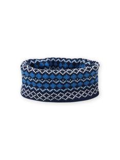Kind Mädchen blauer Snood mit Jacquard-Muster MYOGROSNO5 / 21WI0267SNO221