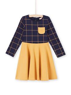 Zweifarbiges langärmeliges Kleid für Mädchen in Nachtblau und Gelb MAJOROB5 / 21W90123ROBC205