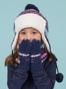 Kind Mädchen blaue Kunstfellhandschuhe mit Jacquardmuster MYAPLAGAN / 21WI0161GANC202