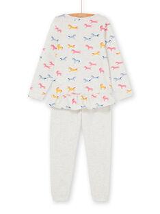Pyjama-T-Shirt und Hose in Grau und Rosa für Mädchen LEFAPYJUNI / 21SH115APYJ006