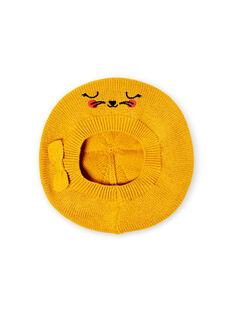 Kleines Mädchen fein gestrickte gelbe Baskenmütze LYINAUBON / 21SI09L1BON106