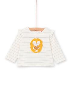 Ecru und gelb gestreiftes Baby Mädchen-T-Shirt LIPOETEE2 / 21SG09Y1TML001