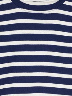 Gerippter Unterziehpullover marineblau und naturweiß gestreift GOJOSOUP1 / 19W902L5D3B070