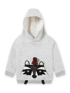 Grauer Kapuzenpulli mit Tiermuster für Baby-Jungen MOSAUSWE / 21W902P1SWEJ922