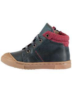Sneakers zum Schnüren marineblaues Leder Baby Junge GBGBASBOU / 19WK38X1D3F070