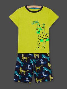Gelber phosphoreszierender Pyjama für Jungen mit Katzenmotiven LEGOPYCLEO / 21SH12C5PYJ117