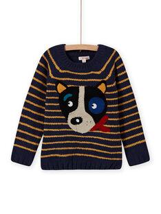 Langärmeliger gestreifter Pullover für Jungen mit Hundekopf-Motiv MOMIXPUL / 21W902J1PUL717