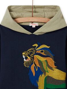 Blauer Kapuzenpullover für Jungen mit Löwenprint MOKASWE / 21W902I1SWE705