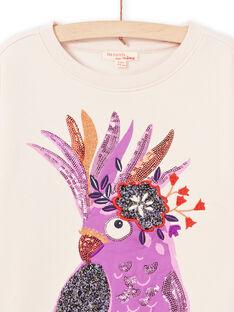 Langärmeliges rosa Papageien-Sweatshirt für Mädchen MAPASWEA / 21W901H1SWED319