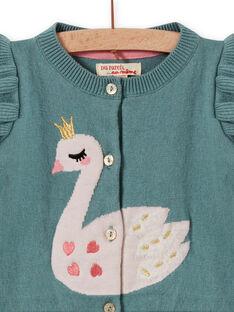 Baby Mädchen khaki grüne Strickjacke mit Schwanenmotiv MIKACAR / 21WG09I1CAR612