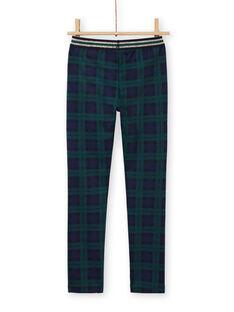 Blaue und grüne Milano-Hose für Mädchen mit Tartan-Druck MAJOMIL3 / 21W90113PANC243