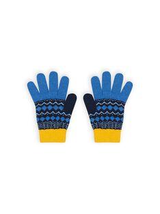 Blaue Handschuhe mit Jacquard-Muster Kind Mädchen MYOGROGAN3 / 21WI0266GAN221