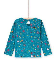 Blaues Enten-Langarm-T-Shirt für Mädchen mit Blumendruck MATUTEE4 / 21W901K2TML714
