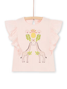 Rosa T-Shirt mit kurzen Rüschenärmeln LAJAUTI1 / 21S901O1TMC307