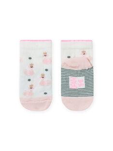 Baby Mädchen rosa und ecru Schwan Druck Socken MYIKASOQ / 21WI09I1SOQ001