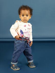 Jeans und Gürtel mit Blumendruck für Baby-Mädchen MIPAPAN / 21WG09H2PANP274
