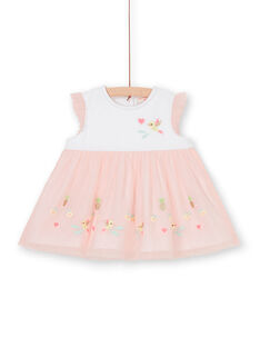 Weiß und rosa Baby Mädchen Kleid LIBALROB4 / 21SG09O3ROB000