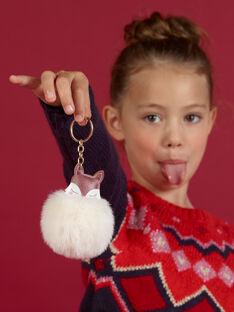 Baby Mädchen braun und ecru Fuchs Schlüsselanhänger mit Pompon MYACLACLES2 / 21WI01G4D5M420