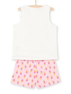 Schlafanzug für Mädchen mit rosa und ecrufarbenen Mustern LEFAPYJPIN / 21SH11C9PYJ001
