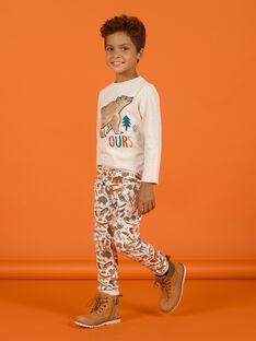 Beigefarbener Jogginganzug für Kinder Jungen mit Tiermuster Aufdruck MOSAUJOG / 21W902P1JGBA013