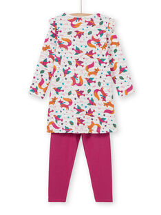 Kinder-Nachthemd Mädchen mit Fuchs-Print und fuchsiafarbenen Leggings LEFACHUBIC / 21SH1151CHN001