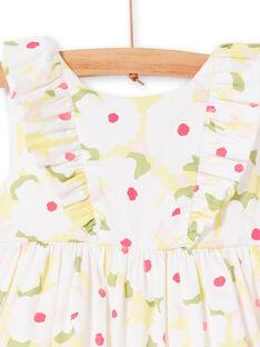 Weißes Kleid mit Blumendruck und Baby Mädchen gelb bloomer LIBALROB1 / 21SG09O2ROB000